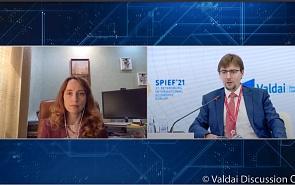 Фотогалерея: Риски санкций для мировой финансовой системы и международного бизнеса. Сессия Валдайского клуба на ПМЭФ-2021